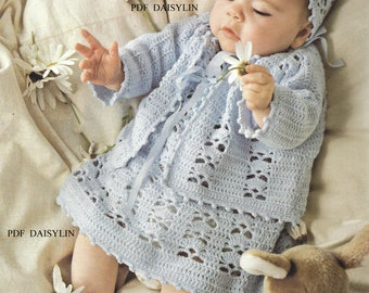Instant PDF Download Pretty Baby  Crochet Layette Jacket Dress Bonnet & Bootees  Pattern   (56)