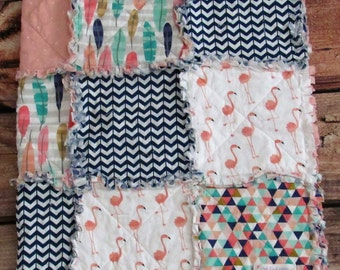 Navy Blue, Mint and Coral Flamingo Baby Rag Quilt