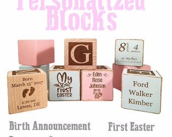 Handmade Online Gift-Baptism Block-Baptism Present-Christening Gift keepsake Custom Engraved wooden baby blocks for newborn girl newborn boy