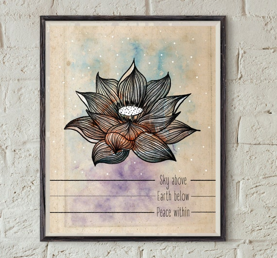 Spiritual Wall Art lotus print spiritual wall art peace quote printable