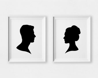 Couples Gift, CUSTOM Silhouette, Valentines Day Gift, Couple Portrait, Valentines Gift, Unique Gifts For Her