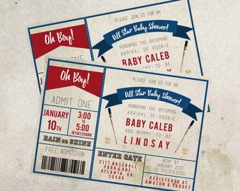 Baseball Baby Shower Invitation - Customized Digital File