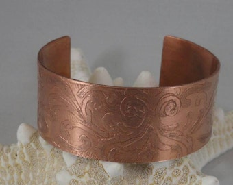 Etched 18 gage copper bracelet. Copper cuff braclet.
