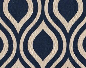 """108"""" Rod Pocket Curtain Panels, Nicole Indigo Blue Geometric, Unlined"""