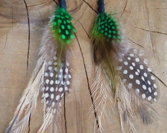Vibrant green clustered feather earrings
