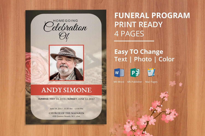 floral funeral program template memorial program template