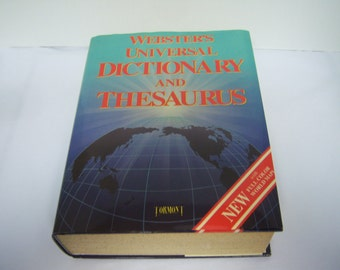 Webster's Universal Dictionary and Thesaurus, 1993 Edition, Hardback, Dust Jacket, Color World Maps, Pages Lightly Yellowed