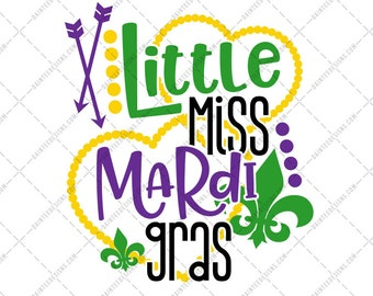 Little Miss Mardi Gras - SVG, Vector, DXF, EPS, Digital Cut File, Silhouette, Cricut, Cutting, Beads, Holiday, Daughter, Girls, Cute, Girly