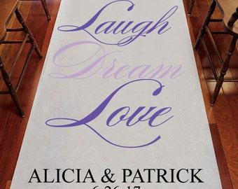 Laugh Dream Love Personalized Wedding Aisle Runner - Plain White Aisle Runner - JM9517456