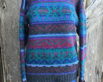Vintage Woolrich wool sweater, aztec sweater, teal sweater, mohair blend sweater, mock neck turtleneck sweater, geometric sweater