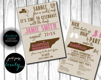 Nashville Bachelorette Party Invitation | Printable | Saddle Up | Cowboy | Pink & Brown | Kick your boots up high | Country