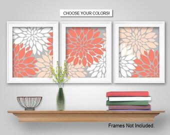 PRINTS or CANVAS or Printable Digital Download - Dahlia Flower Burst Wall Art - Dahlia Flower Burst Wall Decor - Coral, Peach, Grey