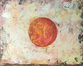 Original New MENDOZA Contemporary Modern Abstract Grunge Textured Flag Japan Japanese Art Painting Canvas
