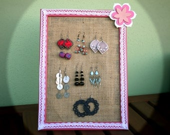 MADE TO ORDER Pink earring holder, Burlap jewelry display, Framed Earring Holder, Handmade Jewelry Organizer, Jute earring holder,Jwls frame