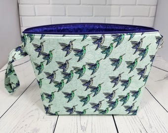 Knitting project bag Crochet project bag Travel yarn pouch Hummingbird tote Gadget bag Bird lovers bag Gift bag Yarn storage Hummingbird bag