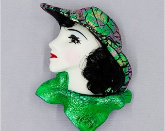 1980's Friendly Plastic Lady Face Pin With Hat and Scarf