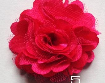 2 inch across shabby fabric flowers set of 2