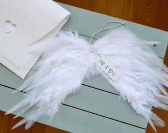 Small angel wings, feather angel, small gift for mom