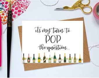 It's my turn to pop the question | Will you be my bridesmaid notecard for bridal party | Digital Calligraphy printable for wedding