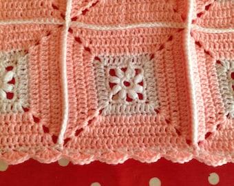 Crochet Baby Blanket - Peachy Pink & White - Afghan Granny Square blanket