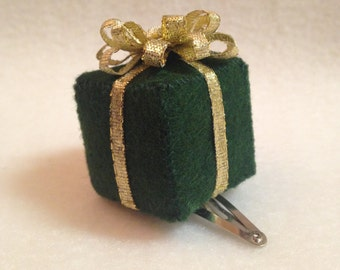 Forest Green Wool Felt Present Hair Clip With Gold Ribbon Bow