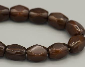 14 Hand Carved Resin Beads - Ethnic - Brown - Boho - 10X14MM
