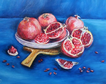 Pomegranate Still Life Painting Oil Painting Original Art Bright Fruit Still Life Wall Decor Kitchen Art Food Painting