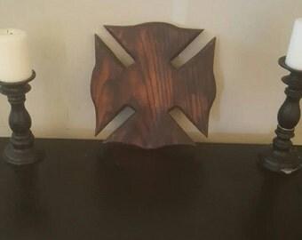 Solid Burnt Oak Fireman's Cross
