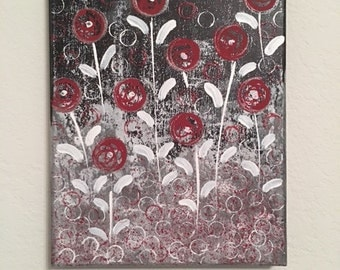 """Original Flower Acrylic Painting / 8""""x10"""" Stretched Canvas / Black, Red, White Silver"""