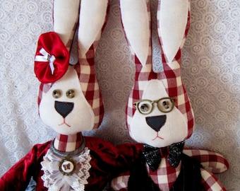 Bunny Rabbit, Rabbit toys, Rabbit couple, Handmade rabbit, Bunny doll