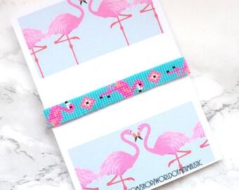 Flamingo bracelet, flamingo jewelry, bird bracelet, flamingo tassel bracelet, bohemian bracelet, peyote bracelet, bead loom bracelet