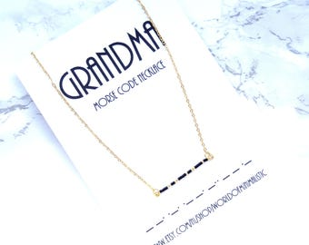 GRANDMA morse code necklace, custom bar necklace, baby shower gift, everyday simple necklace, morse code jewelry, minimalist necklace