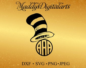 The Cat In The Hat svg Monogram Frame, Dr. Seuss svg, pdf, eps files for cutting in silhouette, cricut, circle monogram svg