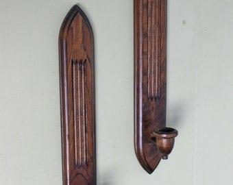 Vintage Pair of Wood Candleholders