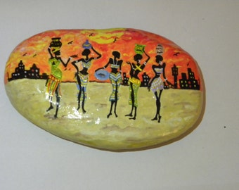 africa theme hand painted stone