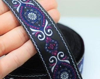 35 mm Blue&Pink Jacquard ribbon (1.37 inches) - jacquard  - Decorative Craft Ribbon - Sewing trim - woven trim - embroidered ribbon