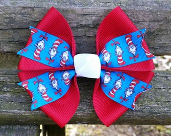 Dr. Seuss (The cat in the hat) Hair Bow (4 inch)