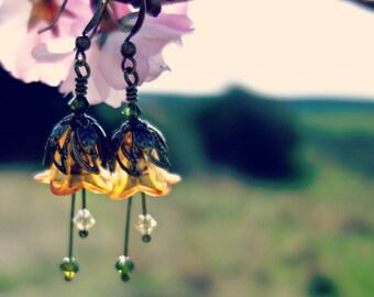 Orange Earrings - Orange Jewelry - Summer Earrings - Summer Jewelry - Orange and Green Flower Earrings - Dangle Drop Earrings - Vintage Gift