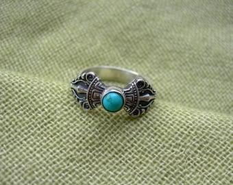 Vajrayana Handmade Ring Dorje. Vajra Tantric. Buddhist ring. Natural turquoise. Buddhism. Buddha. Tibetan buddhism. Tibet. Bhutan. Chod.