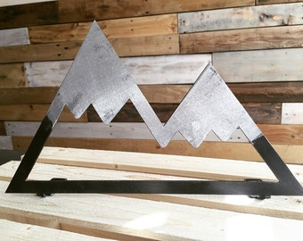 Rustic Metal Mountain - standing or wall hanging