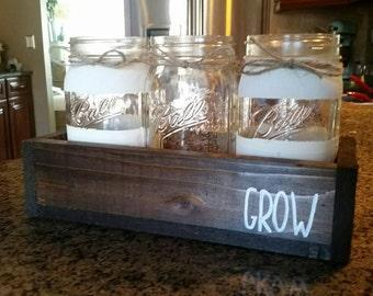 Mason Jar Table Decor   Herb Garden  Mason Jar Kitchen Decor   Rustic Home  Decor