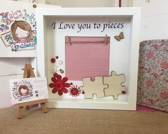 Personalised handmade puzzle jigsaw piece couple love valentines