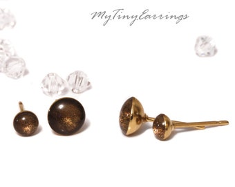 Set of 2 Pairs of Chocolate Piercing Earrings Mini Tiny 6, and 4mm Stainless Steel Gold Plated Posts plus High Quality Epoxy Resin 175-6-4