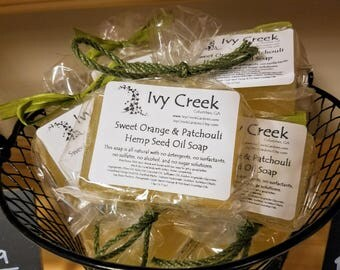 Sweet Orange & Patchouli Hemp Seed Oil Soap,  Natural,  Holistic, Therapeutic, Essential Oils.