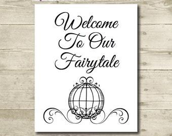 Cinderella Wedding // Disney Wedding // Fairytale Wedding Sign // Cinderella Carriage // PRINTABLE // 8x10 // Weddings, Bridal Shower