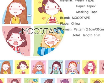 Girl Washi Tape Girl Expression,scrapbooking stickers,DiY,Paper Decorative masking Tape