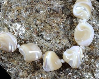 1 Strand, 12 mm Champagne Shell Beads, Genuine Mother of Pearl Drilled Nugget, Jewelry Making, Sea Shell, DIY Jewelry, Earthy Brown Necklace