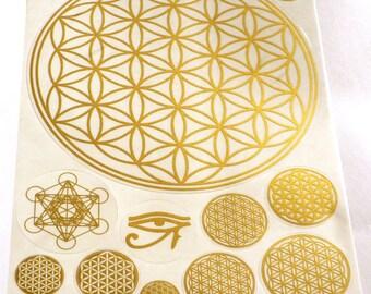 Flower of Life, 12 Stickers (1 BIG sheet A5), Metatron Kabbalah, Transparent, Gold