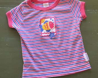 Vintage Healthtex pink striped shirt with fish patch, size 3T, 1990s