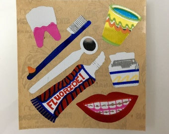 Vintage Rare Mylar Dental Stickers. Lips, Teeth, Toothbrush,